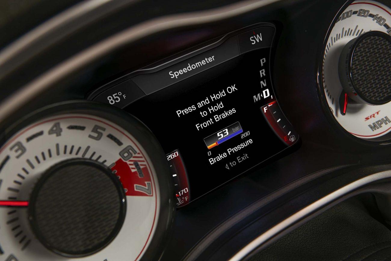 The line lock brake pressure gauge on the 2018 Dodge Challenger